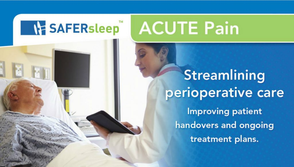 A nurse is using the SAFERsleep Acute Pain application.