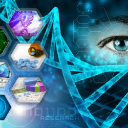 Medical science, scientific research and secure offsite datacentre abstract background.