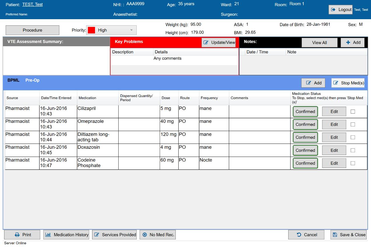 A screenshot of SAFERsleep MR VTE Assessment Summary.