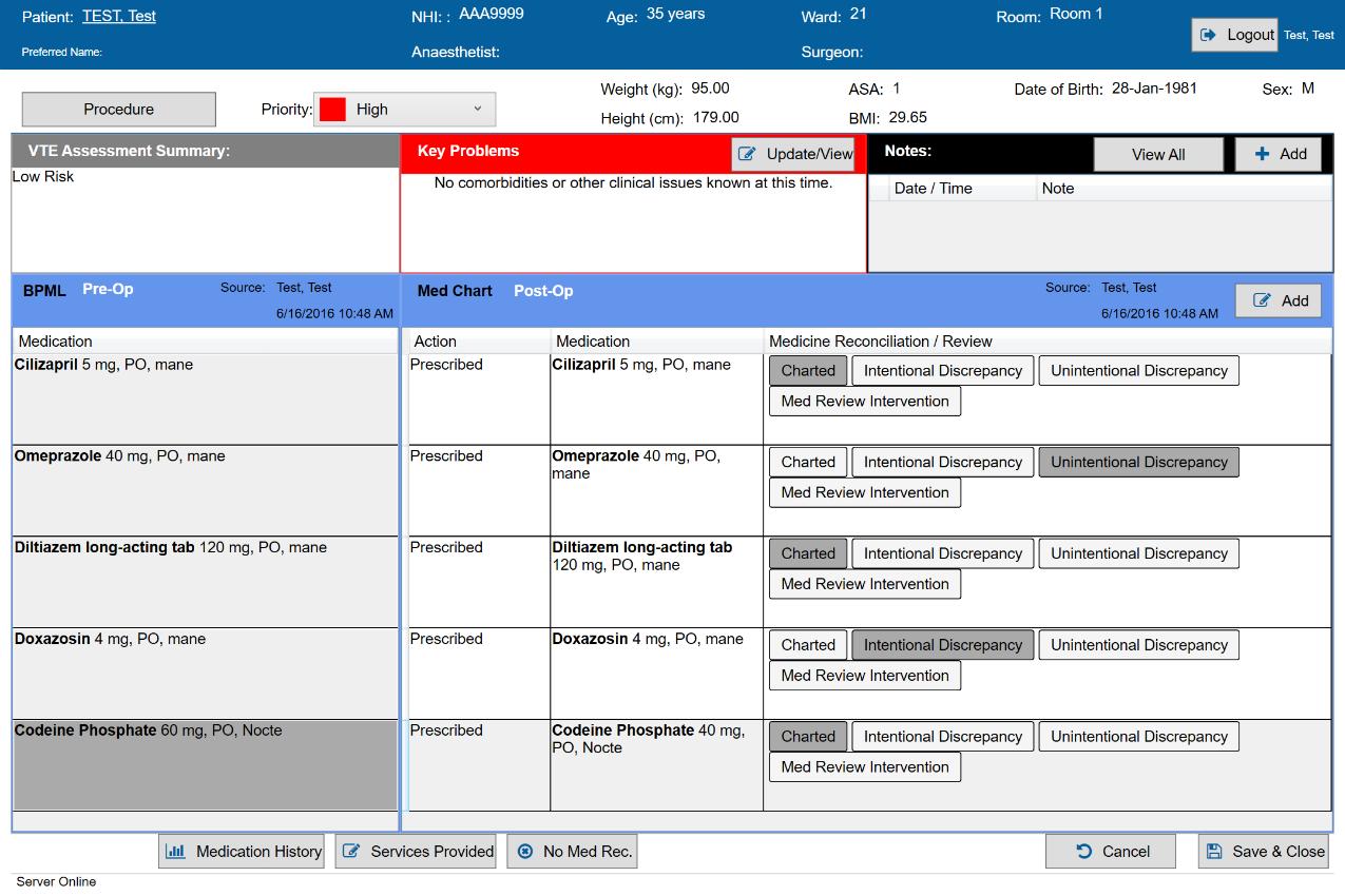 A screenshot of SAFERsleep MR VTE Assessment.