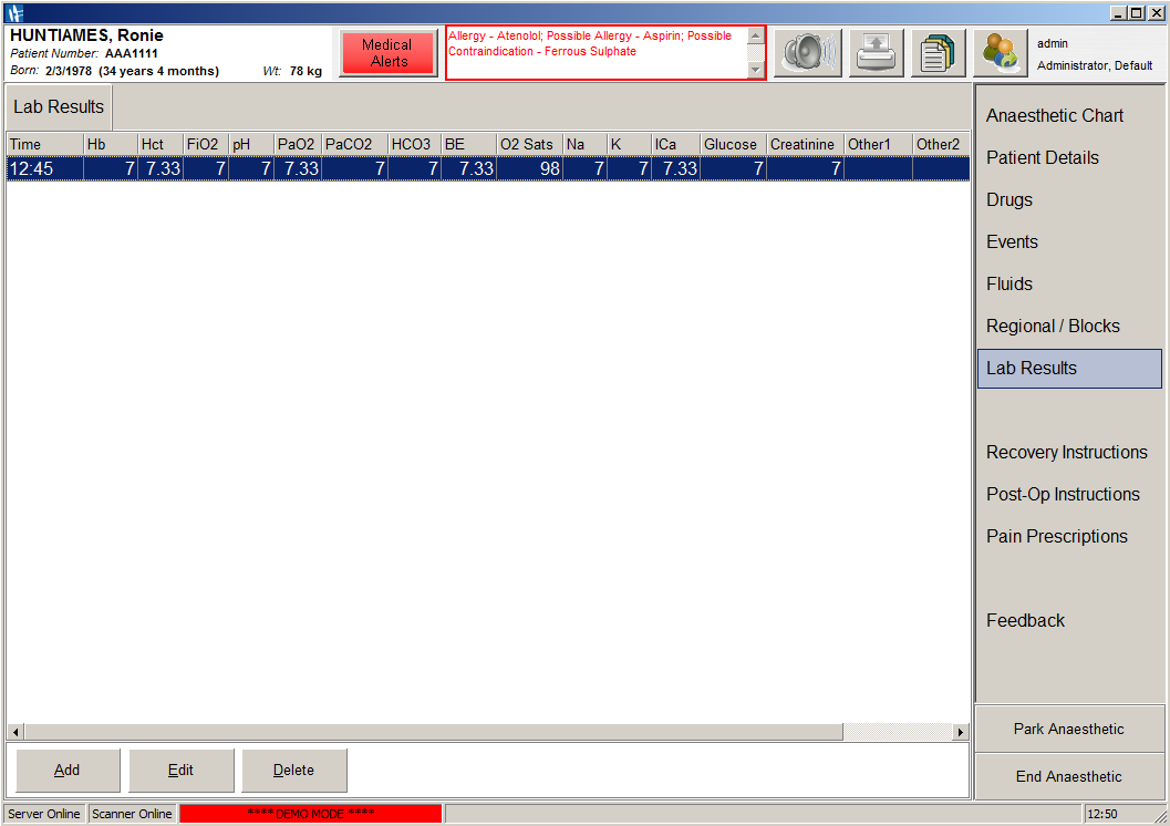 A screenshot of SAFERsleep OR System Lab Results