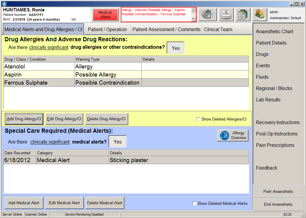 A screenshot of SAFERsleep OR System Medical Alerts and Drug Allergies CI