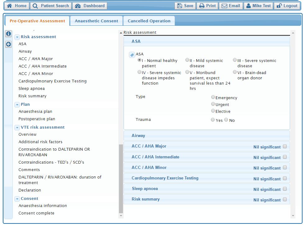 A screenshot of the SAFERsleep PREOP Pre-operative Assessment